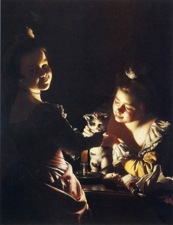 Joseph_Wright_of_Derby._Two_Girls_Dressing_a_Kitten_by_Candlelight._c._1768-70