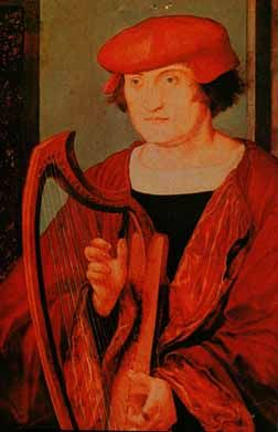 bard with a small harp